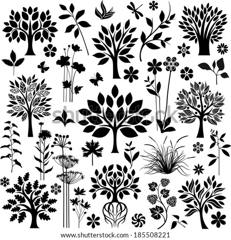 Trees and plants - stock vector