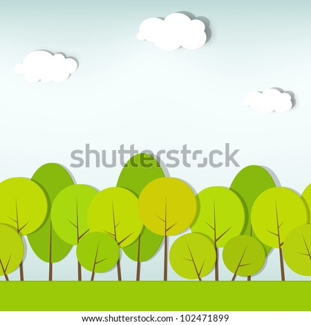 trees and shrubs. seamless vector pattern - stock vector