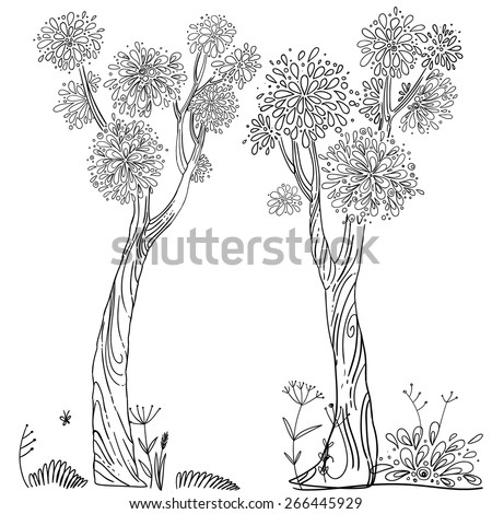 Trees drawn line, a children's decor. Two large tree, vector design elements - stock vector