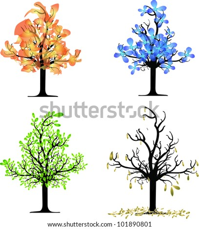 Trees Four seasons - spring summer autumn of vector drawing.