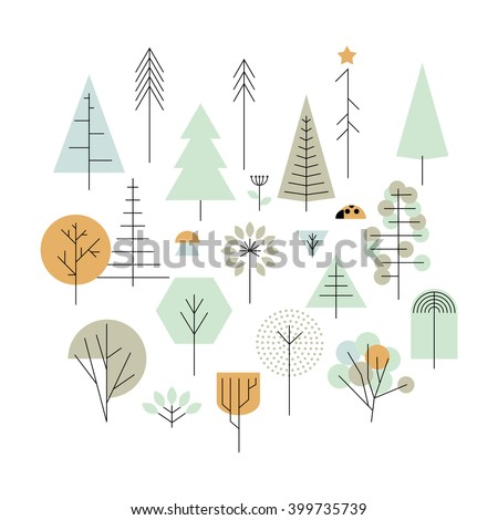 Trees geometric line icons, vector design elements. Trees: palm tree, fir-tree, oak, pine. White background. Vector illustration. - stock vector
