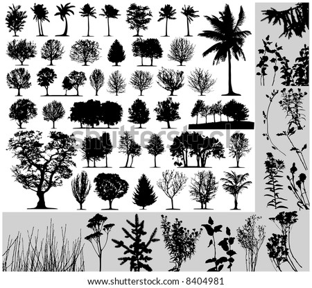 Trees, grass, plant vector on white background - stock vector