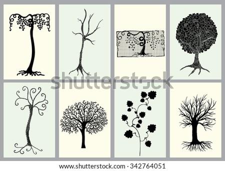 Trees illustration set. Tree variation cards. - stock vector