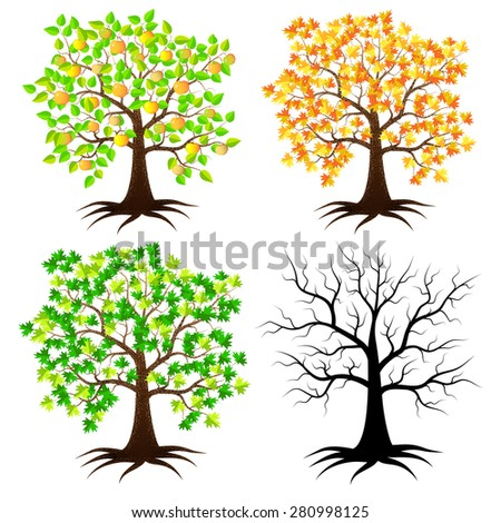 Trees in different versions. Tree with apples, autumn tree, dead tree, tree green. - stock vector