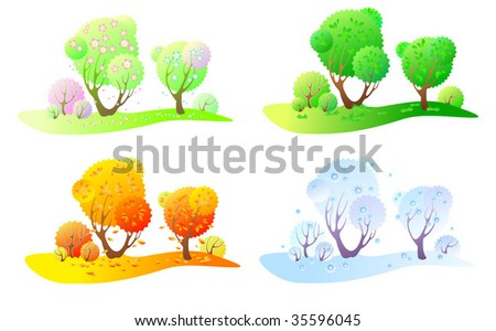Trees in four seasons- spring, summer, autumn and winter. Four colors. - stock vector