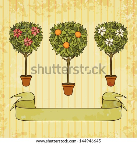 trees in the pot, vector illustration, eps10 - stock vector