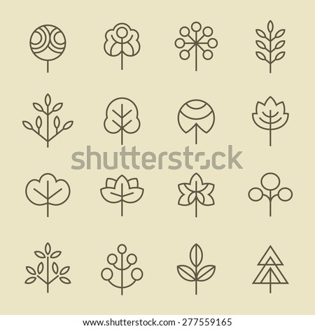 Trees line icon set - stock vector