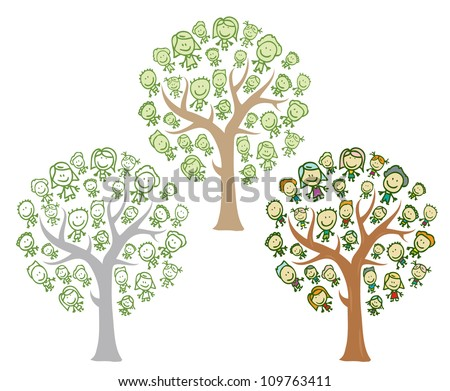Trees of family with happy kids - stock vector