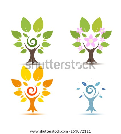 Trees on Four seasons - spring, summer, autumn, winter icon - stock vector