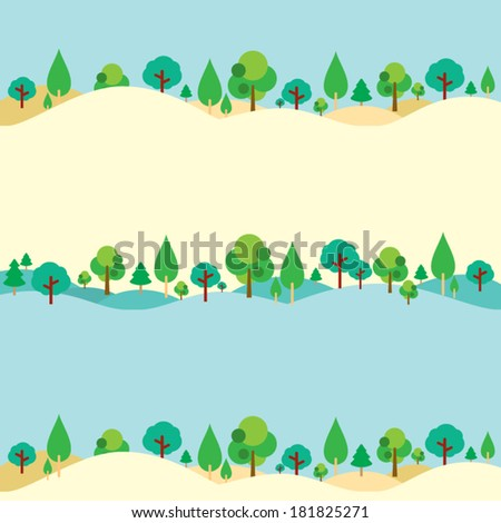 Trees On Hills Natural Background - stock vector