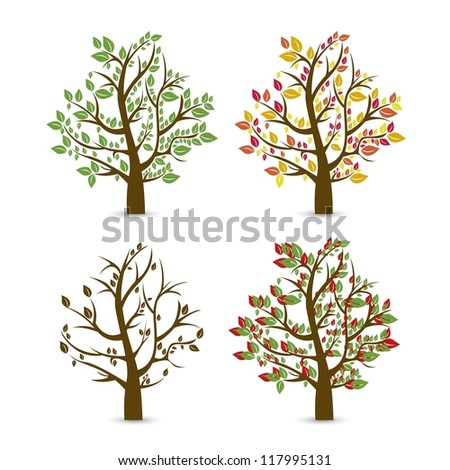 Trees seasons. Spring, summer, autumn and winter. vector illustration