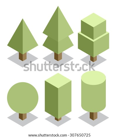 trees set. 3d isometric vector - stock vector