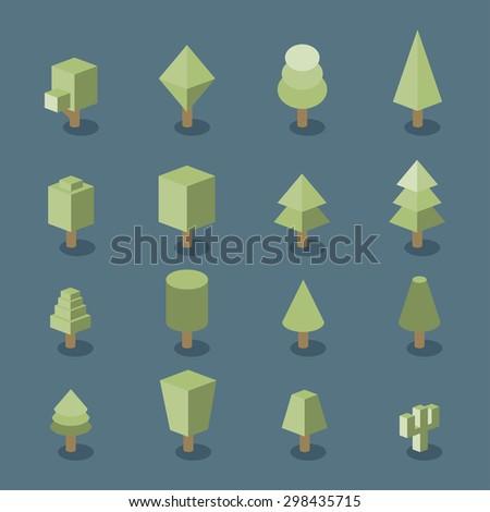 Trees set. Isometric vector - stock vector