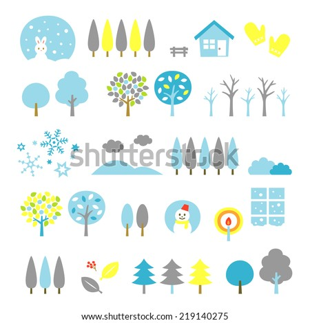 trees set, winter - stock vector