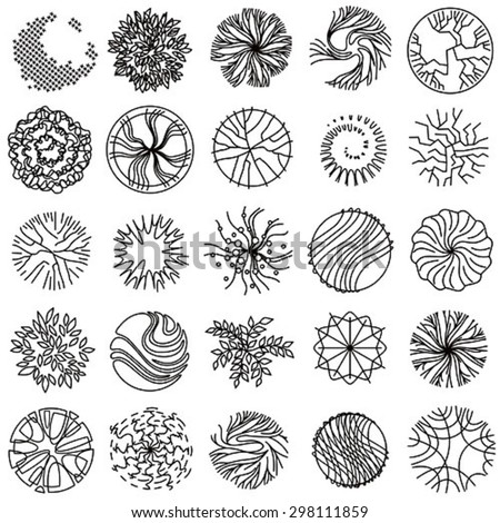 Trees - top view. Easy to use in your landscape design projects - stock vector