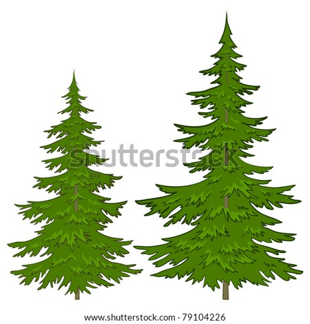 Trees, vector, christmas green fur-trees, isolated on a white background - stock vector