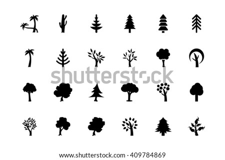 Trees Vector Icons 2 - stock vector