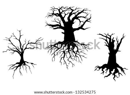 Trees with dead branches and roots isolated on white background. Vector illustration for ecology concept design. Jpeg (bitmap) version also available in gallery - stock vector