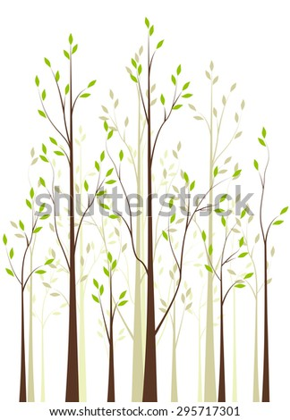 Trees with green leaves on white background - stock vector