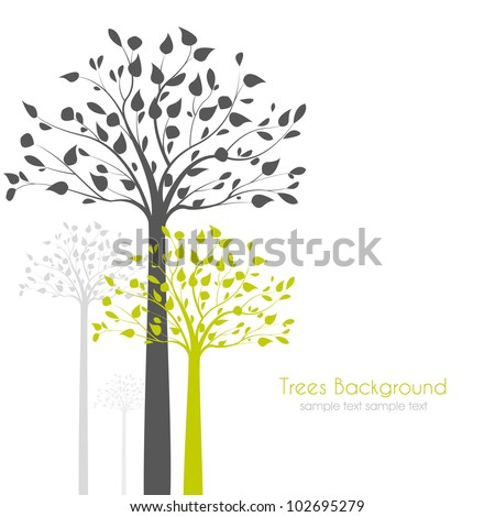 trees with leaves on white background - stock vector