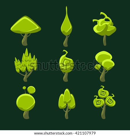 Trees With Weird Shape Crown Set Of Flat Bright Color Cool Fantastic Design Vector Icons Isolated On Dark Background - stock vector