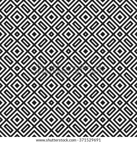 Trellis. Seamless tiled background of black and white square geometric grid. Oriental traditional pattern for ceramic. Vector illustration.