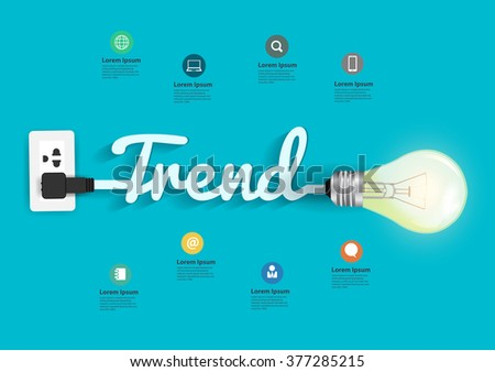 Trend concept with creative light bulb idea, Vector illustration modern design layout template - stock vector