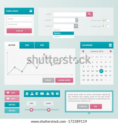 Trend UI components for web or e-shop. Each object in separately folder. - stock vector