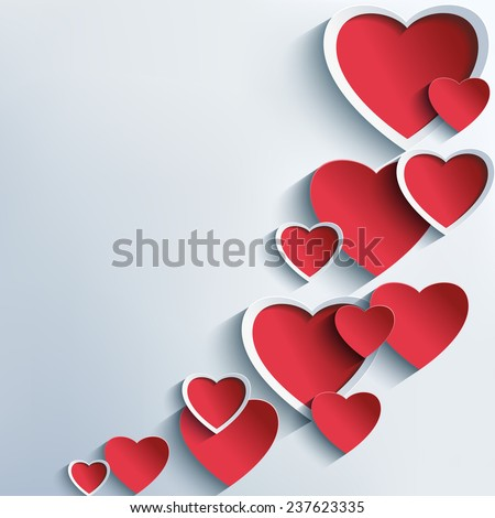 Trendy abstract Valentines day background grey with 3d red hearts. Creative stylish wallpaper with hearts. Beautiful love card for Valentines day. Vector illustration. - stock vector