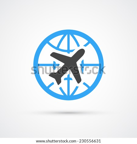 Trendy airplane travel flight icon. Vector illustration - stock vector