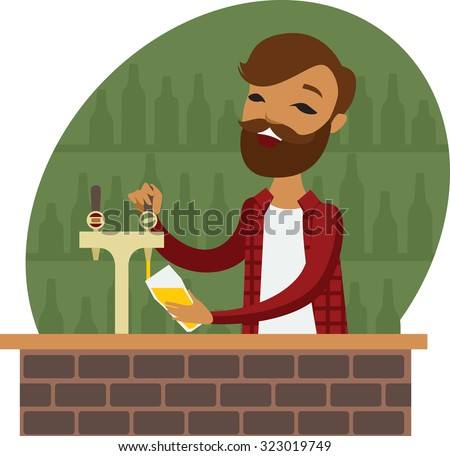 Trendy bartender at the bar cartoon character - stock vector
