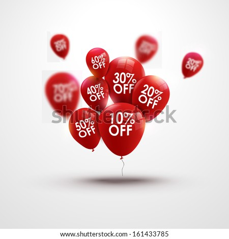 Trendy beautiful background with baloons and discounts - stock vector