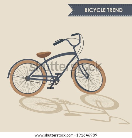 Trendy bike with rotated handlebar and oblique shadow on beige background isolated