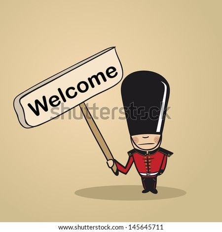 Trendy british man says welcome holding a wooden sign sketch. Vector file illustration layered for easy editing. - stock vector