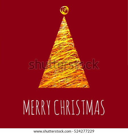 Trendy Christmas and New Year tree greeting card vector template with modern paint trendy triangle decorated pine tree