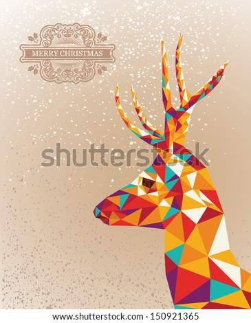 Trendy Christmas colorful reindeer transparent triangles grunge background. Vector file layered for easy editing. - stock vector
