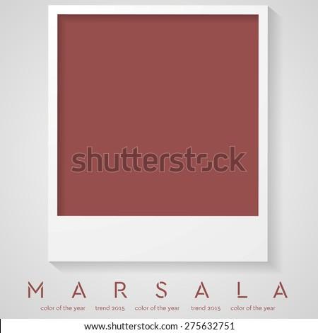 Trendy color marsala 2015. Polaroid frame vector background - stock vector