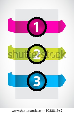 trendy colors origami with special numbered buttons - stock vector