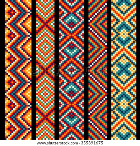 Trendy, contemporary ethnic seamless ribbons and braid, border, pattern, embroidery cross, squares, diamonds, stripe. - stock vector