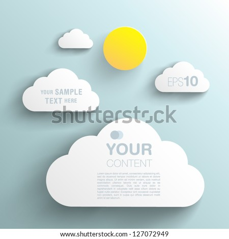 Trendy 3D Background Sun And Clouds With Transparent Shadow - stock vector