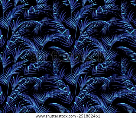 trendy dark tropical palm leaves texture, seamless swatch element included - stock vector