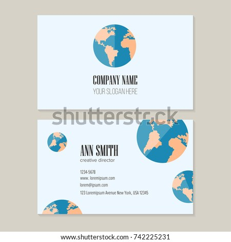 Trendy Earth Logo Design With Template Business Card For Creative Director Visual Identity Travel