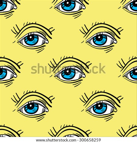 Trendy fashion Pop - Art  eye seamless pattern. Isolated vector illustration.  - stock vector