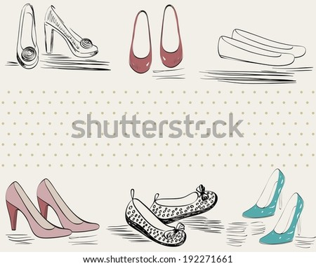 trendy fashion  shoes.  Fashionable Hand drawn illustration.
