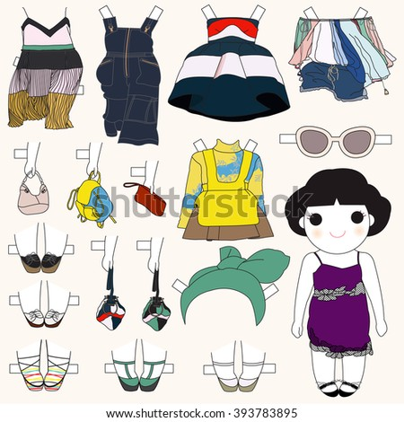 Trendy Fashionista Girl Character Paper Doll Design illustration set