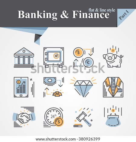 Trendy flat and line Banking and Finance icon m-banking,savings,internet payment security,savings, partnership,online banking,online services,exchange,cash.For apps,developers,designers. - stock vector