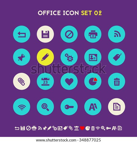 Trendy flat design office set 2 icons on bright round buttons