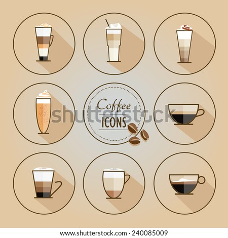 trendy flat design style coffee types icons- vector collection - stock vector