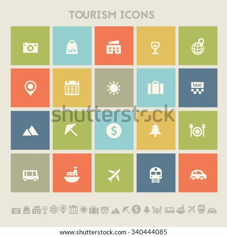 Trendy flat design tourism icons on colored square buttons