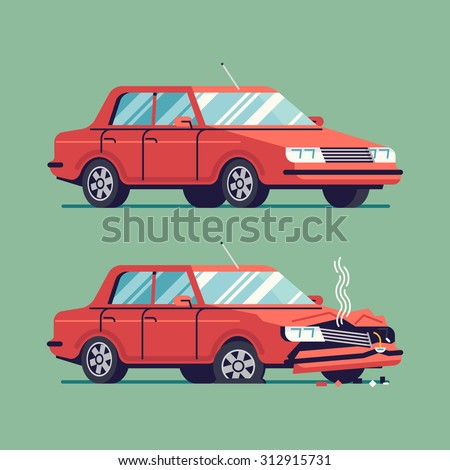 Trendy flat design traffic car sedan vehicle before and after car crash road accident | Wrecked and okay vehicle - stock vector